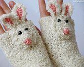 RABBIT GLOVES FINGERLESS animal bunny mittens original design forest autumn crochet hand warmers kids adults free worldwide shipping