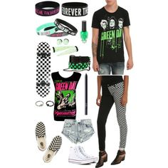 Green Day by carlile-babe on Polyvore featuring polyvore, fashion, style, One Teaspoon, Converse, Vans and NARS Cosmetics