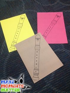 I copied the recorder image onto construction paper to make these colorful recorders. It's an easy DIY hack that saves time when creating classroom displays!