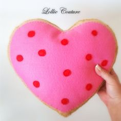 Sugar Cookie Heart Cushion  MODERN HOLIDAY by Lollie Couture MADE IN THE USA  Modern designed to add elegance and rich style to your Holidays!  Pretty little cushion cookies that can sit on a bed, crib, chair, car pillow, all ages and excellent Valentine gift.  Handmade from Premium Quality Soft Wool Felt layers and soft silk premium stuffing with LOTS of DETAILS. Custom embroidered HAND stitching through all layers with felt sprinkles. Safe for little ones with just fabric and thread!  HAND…