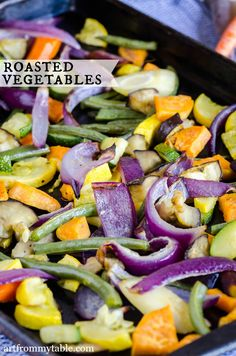 These Easy Roasted Vegetables are lightly seasoned and full of flavor. A cinch to make and the perfect side dish to just about any meal. | side dish | |vegetarian| Easy |