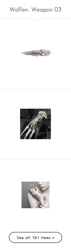 """Waffen, Weapon 03"" by kristinaeduardovna ❤ liked on Polyvore featuring jewelry, rings, accessories, spikes rings, spikes jewelry, clear crystal jewelry, jewel rings, hinged ring, gloves and pictures"