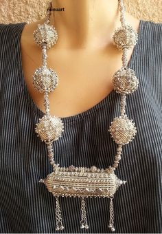 Traditional Yemenite ,filigree style, made of glass silvered beads