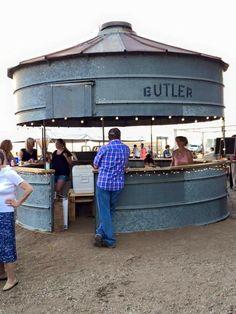 Grain bin turned outdoor bar.  Wouldnt this make a fab gazebo?!