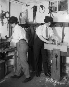 Two people dressed as men work in a woodshop, circa A look back at how gender norms were blurred during the early century, presented by Getty Images. Tomboy Look, Always Meaning, Looking Back, Vintage Photos, Meant To Be, Gender, History, Pictures, People