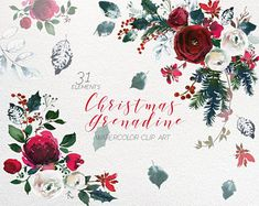 Christmas Watercolor Floral Clipart Watercolour Red Burgundy White Navy Flowers Spruce Branches Leaves Wine Colors Spray Wedding Invitation