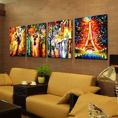 Cheap oil painting, Buy Quality landscape oil painting directly from China wall art Suppliers: Hand-painted home decor wall art thick acrylic Palette knife rainy boulevard pedestrian Eiffel Tower landscape oil painting Abstract Wall Art, Canvas Wall Art, Canvas Prints, Frames For Canvas Paintings, Oil Painting Pictures, Art Pictures, Mandala Canvas, Dance Paintings, Decorating With Pictures