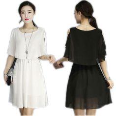 Free shipping 2016 New Women Summer Fashion Faux Tiwnset Styles Slim Chiffon Casual Dress Lady Girl 4 Color Black White vestidos