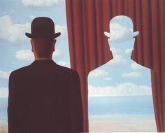 Rene Magritte the surrealist often painted images of men with bowler hats and/or silhouettes of the man with clouds or a beach and sky scene painted within. Magritte wanted us to see positive and negative shapes and scenes in a new way. His work helps me Rene Magritte Kunst, Magritte Art, Magritte Paintings, Salvador Dali, Conceptual Art, Surreal Art, Asymmetrical Balance, Vladimir Kush, Max Ernst