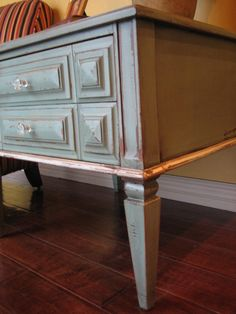 European Paint Finishes: Cottage Green End Table ~