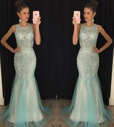 2016 Custom Charming Mermaid Beading Prom Dress, Sexy See Through Evening Dress, Sexy Open Back Prom Gown