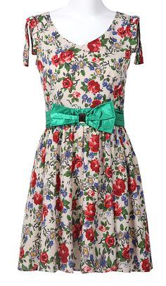 Beige Sleeveless Floral Bandeau Bow Pleated Dress - Sheinside.com