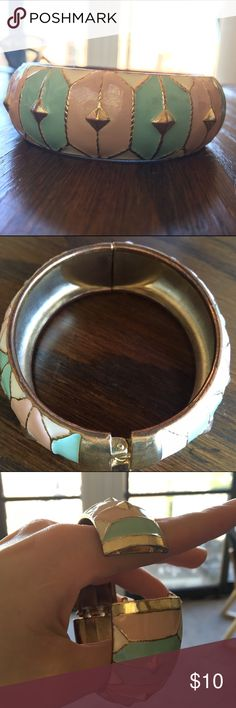 Painted cuff with easy closure Painted cuff in bright gold with beautiful pastel pink and mint colors. Quick easy closure by loaded spring. Timeless look for work, going out or keeping it casual  Jewelry Bracelets