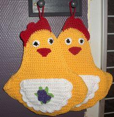 chicken pot holder for easter, easter decor, kitchen decor, crocheted chicken pot holder by Hildescrochetshop on Etsy