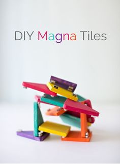 A mini wooden version of Magna Tiles which are super fun and easy to make!