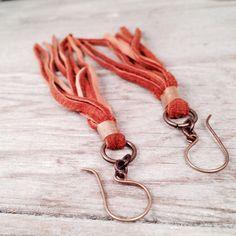 Boho deerskin tassel drop earrings by RawBohoJewelry on Etsy