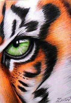 Realistic Animal Drawings, Cool Art Drawings, Pencil Art Drawings, Colorful Drawings, Art Drawings Sketches, Pencil Sketches Of Animals, Colorful Animal Paintings, Tiger Painting, Tiger Drawing