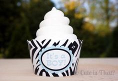 Custom Zebra Print Baby Shower Cupcake Wrappers by howcuteisthatparty for $12.00