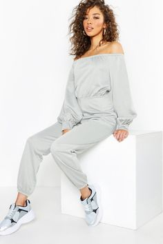 e21ee3092c5eb Off The Shoulder Detail Jumpsuit | Boohoo Boohoo, Two Pieces, Long Sleeve,  Blouse
