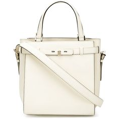 Valextra 'B-Cube' tote (73,985 MXN) ❤ liked on Polyvore featuring bags, handbags, tote bags, white, white leather purse, leather tote, real leather handbags, white tote and 100 leather handbags