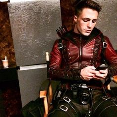 """I've seen quite a few Colton Photo's in my years and this one's truly special. Great shot of My Super Hero!  """"Chillin"""" This life must be, a bit troubled, lonely even with all the fame and glamor I'm still looking for Love in all the wrong places.          Colton Haynes  Me, myself, and tuna cup. Photo stolen from @emilybett . #Arrow #Arsenal#DontPopMollyRockLeatherHood"""