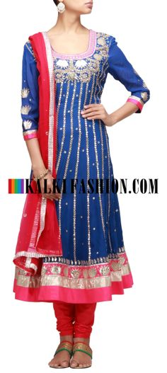 Buy Online from the link below. We ship worldwide (Free Shipping over US$100) http://www.kalkifashion.com/blue-anarkali-suit-embroidered-in-gotta-patti-cut-work.html Blue anarkali suit embroidered in gotta patti cut work