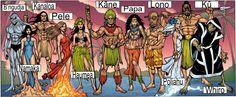 deuses havaianos, Kahuna, Polinésios B'ngudja (deus dos tubarões), Haumea (deusa do parto), Kanaloa (deus do mar), Kane Milohai (deus da luz), KU (deus da guerra), Laka (deus do hula), Lono (deus da agricultura e da paz), na-Maka-o-Kaha'l (deusa do mar), Papa (Gaia), Pelé (goddes de vulcões), Poliahu (deusa da neve), Rangi (céu do pai), Tame (líder), Whiro (deus da morte e do mal)
