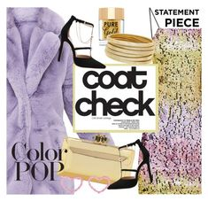 """statement coats color pop"" by maria-maldonado ❤ liked on Polyvore featuring Too Faced Cosmetics, Bagutta and statementcoats"