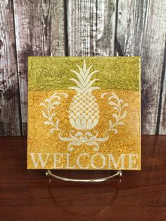 Pineapple Welcome Tile, Welcome Sign Tile, Tile with Stand - pinned by pin4etsy.com