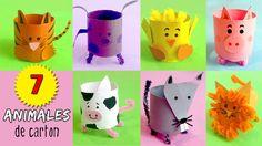 7 ANIMALES de cartón * Manualidades de Reciclaje de tubos de papel