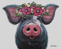 Pig Art, LuLu pig with flower crown art Throw Pillow by Lee H Keller Art - Cover x with pillow insert - Indoor Pillow