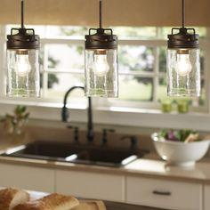 Industrial Farmhouse Glass Jar Pendant Light  Pendant Lighting Kitchen Island light by UpscaleIndustrial on Etsy