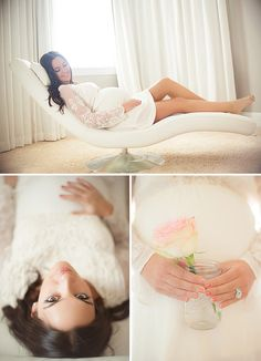 When it comes to maternity sessions in studio or in your home, it is okay to get comfortable!