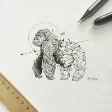 Oeuvre by Kerby Rosanes - Le gorille (Série Geometric Beasts) Geometric Drawing, Geometric Shapes, Geometric Animal, Geometric Gorilla Tattoo, Animal Sketches, Animal Drawings, Animal Illustrations, Monkey Tattoos, Animal Tattoos