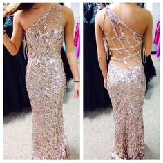 Gold sequin Prom dress Open back, gold/nude, all sequins. Size 2. Worn once. no damage. Dresses Backless