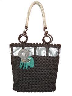 Macrame Black Bag by BagsMagicKnots on Etsy, $124.26