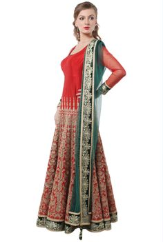 Red Embroider Lehenga With Side Dupatta #shadesandyou.com