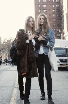 Tilda Lindstam and Amanda Norgaard #streetstyle #fashion #modeloffduty