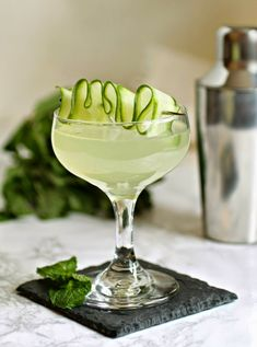 Cucumber Mint Martini --Skip that vodka and sub Hendrick's. Seriously ... stop with the martini blasphemy.