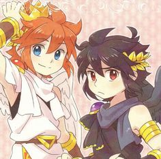 Kid Icarus - Pit and Dark Pit Metroid, Super Smash Bros, Icarus Game, Kid Icarus Uprising, Chibi, Video Game Art, Video Games, Nintendo Characters, Pokemon