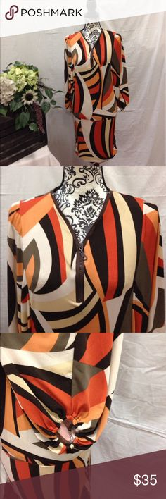 Groovy Urban Mango Retro ZipUp Dress Size medium. Throwback print. Zip up bodice. Tighter around skirt. Orange, brown and white. No flaws. Has stretch. Free gift with purchase Urban Mango Dresses Mini