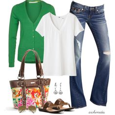 Casual green cardigan and white tee