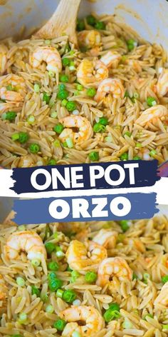 This one pot orzo recipe, with shrimp and peas, is the ultimate comfort meal and comes together in just 25 minutes. 329 calories and 4 Weight Watchers SP | Seafood | Pasta | Recipes easy | Dinner #onepotmeal #pastarecipes #onepotrecipes #shrimprecipes Seafood Pasta Recipes, Yummy Pasta Recipes, Best Dinner Recipes, Top Recipes, Breakfast Recipes, Healthy Recipes, Healthy Comfort Food, Best Comfort Food, One Pot Dinners