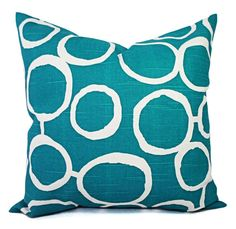 Accent Pillow Cover - Custom Pillow Cover - Turquoise Pillow Cover in Geometric Print - Teal Pillow Cover Turquoise Throw Pillows, White Throw Pillows, Floral Pillows, Blue Pillows, Teal Pillow Covers, Decorative Pillow Covers, Custom Pillows, Just For You, Ticket Check