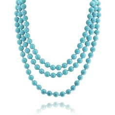 Bling Jewelry Sky Blue Strands ($30) ❤ liked on Polyvore featuring jewelry, necklaces, blue, necklaces pendants, pearl-strands, pearl jewelry, pearl necklace, blue pearl necklace, fake pearl necklace and pearl strand necklace