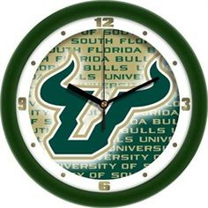 South Florida USF Bulls Glass Wall Clock