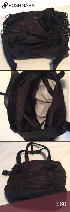 Lululemon Gym Bag Black Lululemon gym bag, barely used. Measures 17 wide x 13 tall. Has two handles plus crossbody strap. lululemon athletica Bags Totes