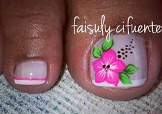 Toenail Art Designs, Flower Nail Designs, Pedicure Designs, Toe Nail Art, Toe Nails, Mani Pedi, Manicure And Pedicure, New Nail Art Design, Cute Pedicures
