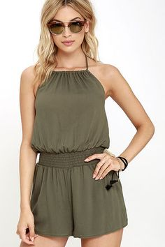 9da1f76f0c8 Take the Leap Olive Green Romper