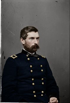 Here's Major General John Gibbon. By all accounts this is as historically accurate as it get. A Lieutenant's (his aide at Gettysburg in, so this was from 1863) report on his appearance was reddish tinted beard, chestnut hair, deep blue eyes, and a cleanly shaven face. Hope you enjo
